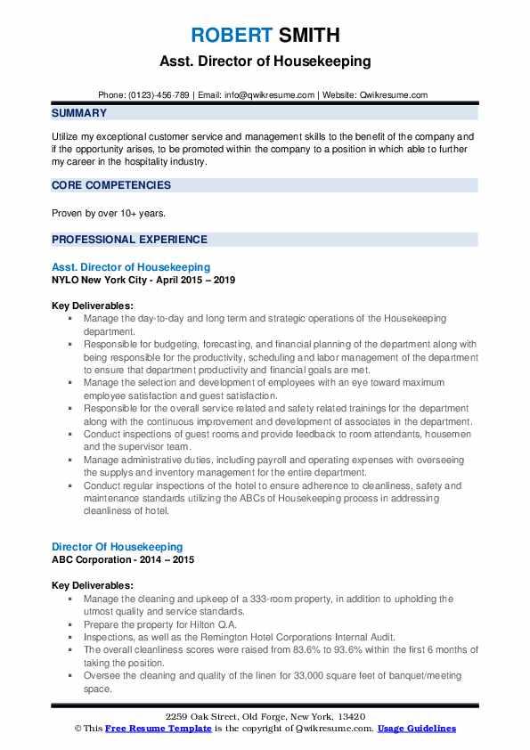 Asst. Director of Housekeeping Resume Format