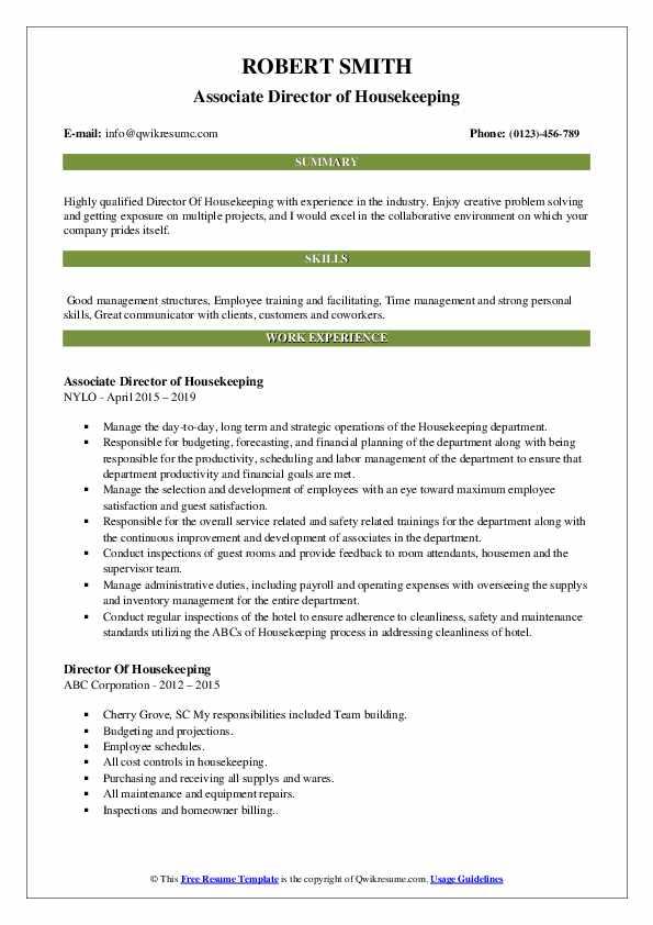 Associate Director of Housekeeping Resume Format
