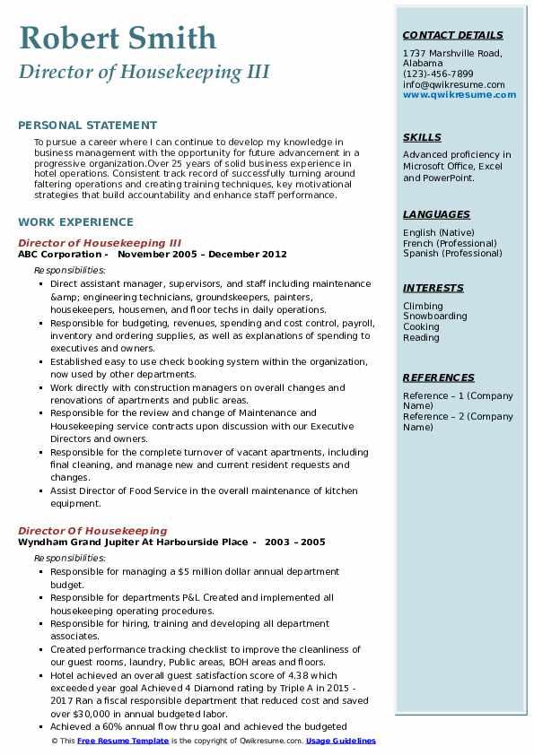 Director of Housekeeping III Resume Model