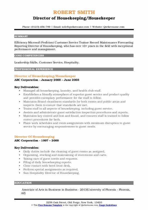 Director of Housekeeping/Housekeeper Resume Template