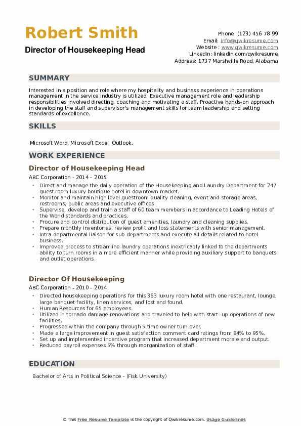 Director of Housekeeping Head Resume Template