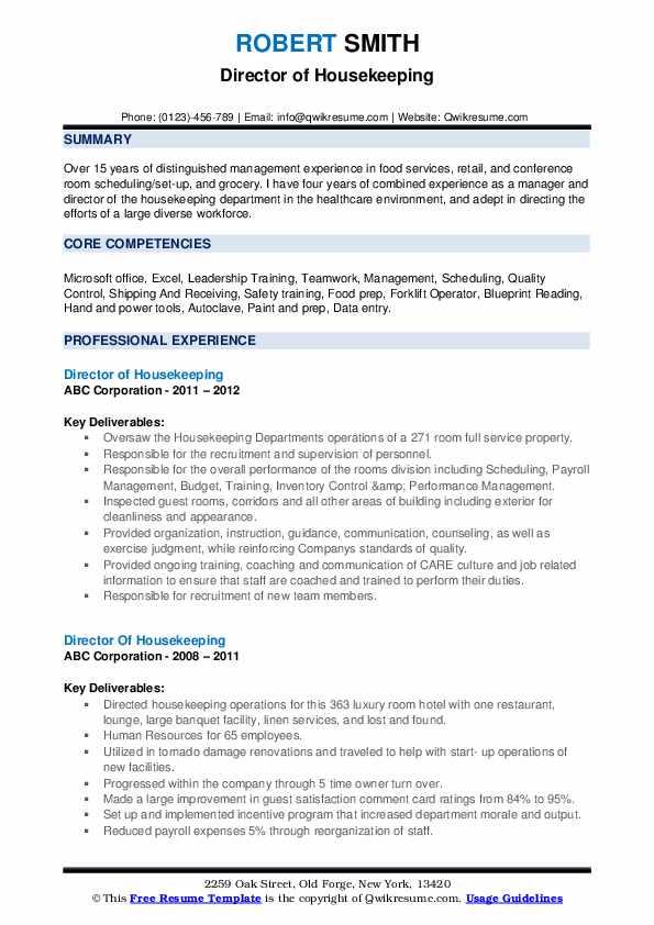 Director Of Housekeeping Resume example