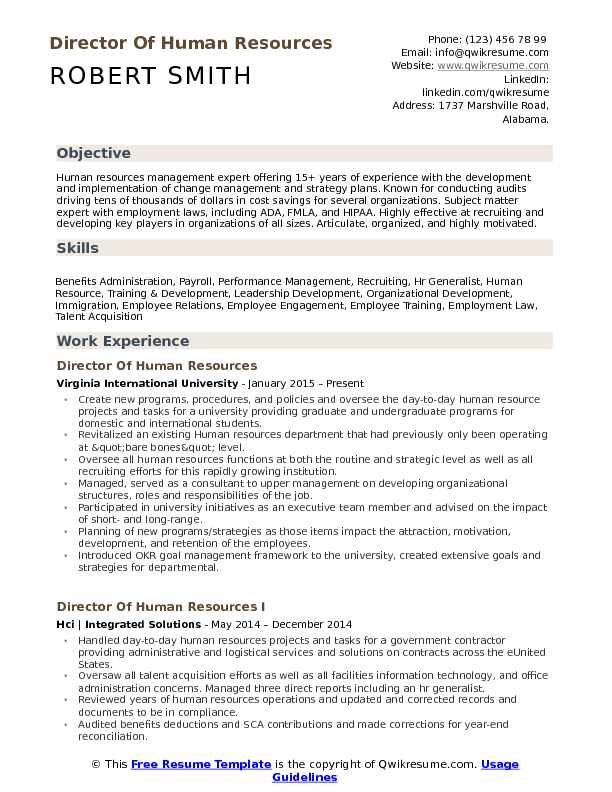 Human Resource Resume | Director Of Human Resources Resume Samples Qwikresume