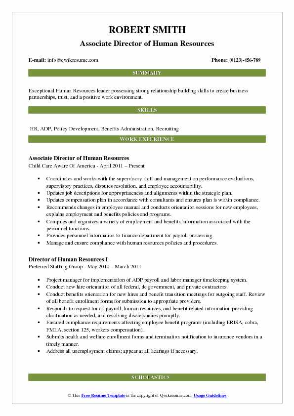 Associate Director of Human Resources Resume Sample