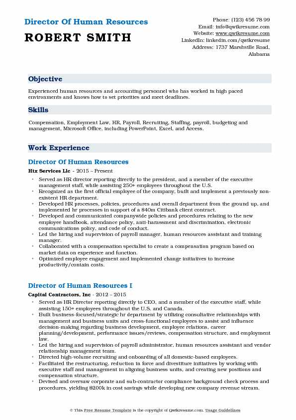 Director Of Human Resources Resume Format