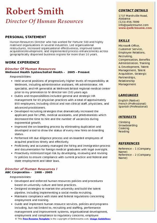 director of human resources resume samples