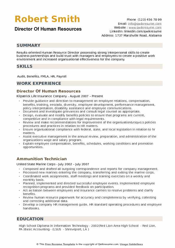 Director Of Human Resources Resume Model