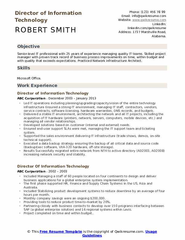 Director of Information Technology Resume Sample