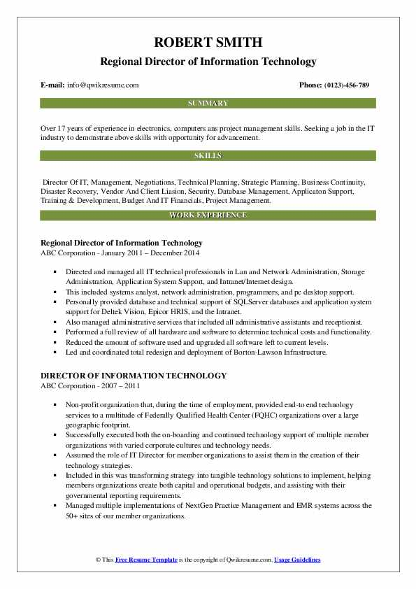 Regional Director of Information Technology Resume Template