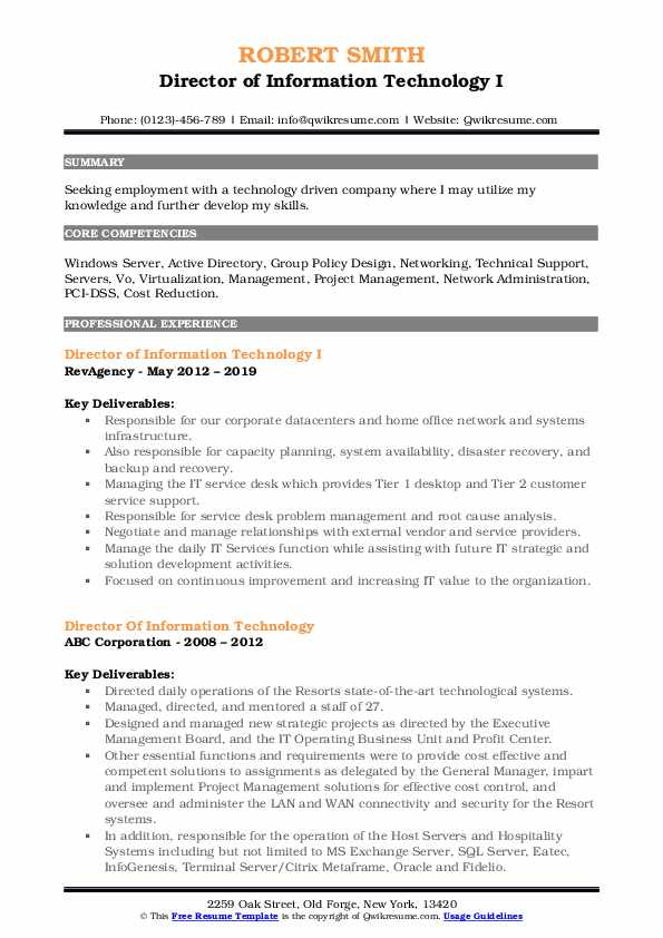 director of information technology resume samples