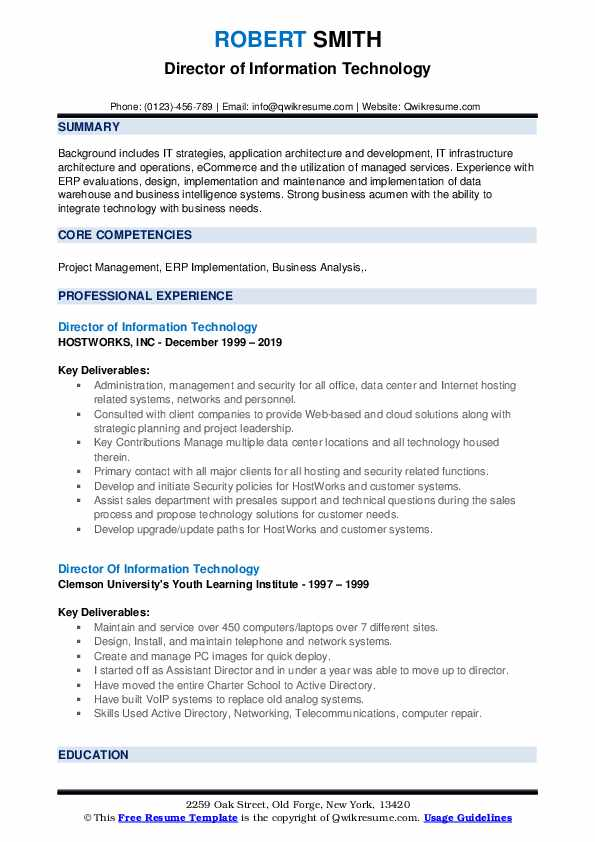 Director Of Information Technology Resume Samples Qwikresume