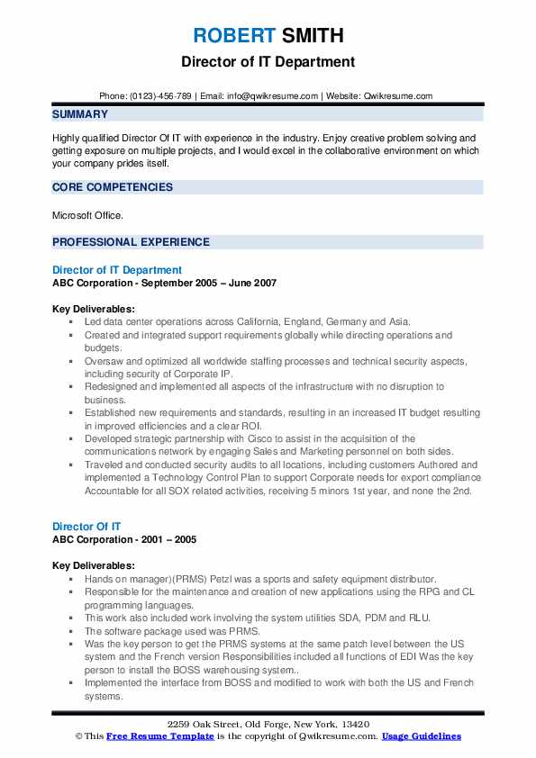 Director of IT Department Resume Example