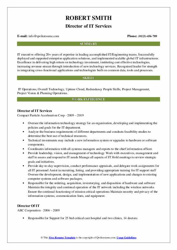 Director of IT Services Resume Sample