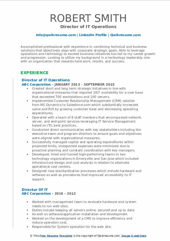 Director of IT Operations Resume Template