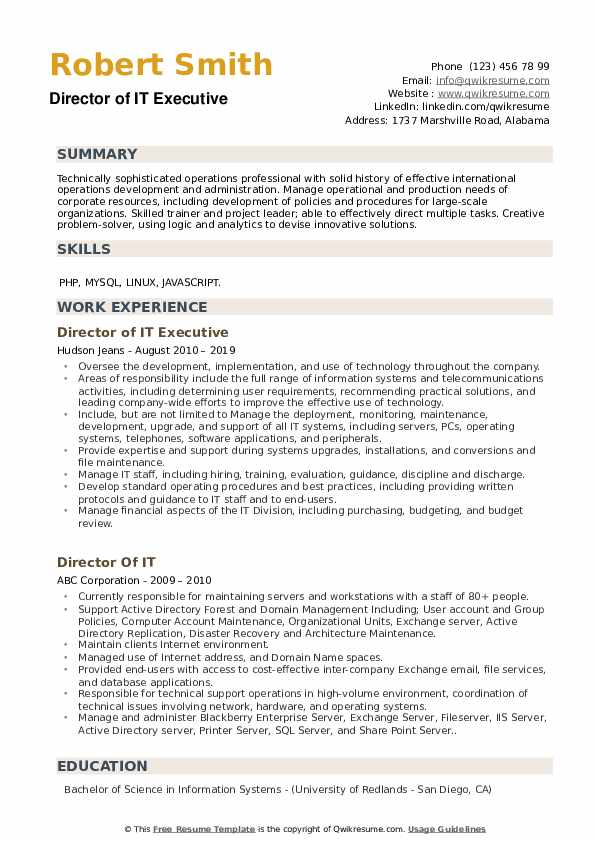 Applications Manager Resume example