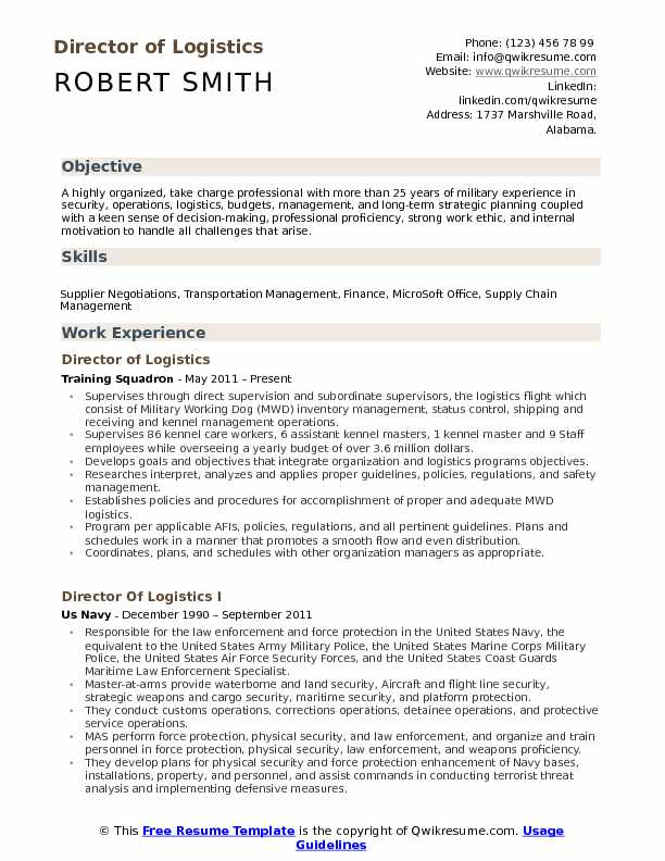 Director Of Logistics Resume Samples