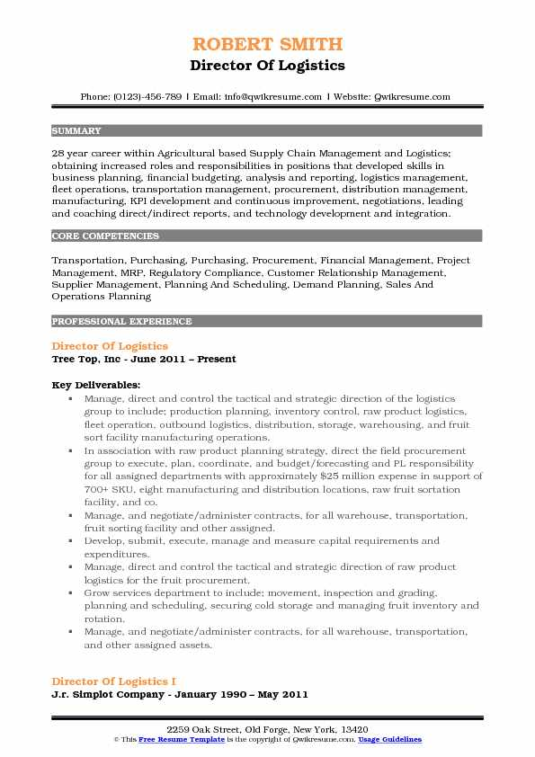 Director of Logistics Resume Samples | QwikResume