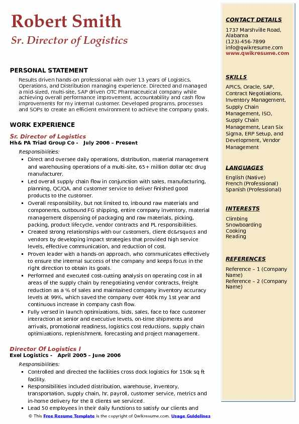 Sr. Director of Logistics  Resume Example
