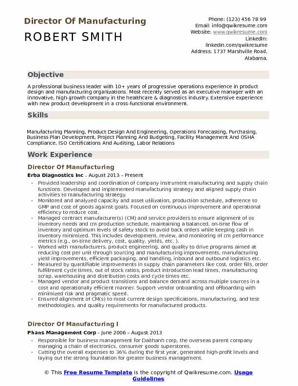 Director Of Manufacturing Resume Sample
