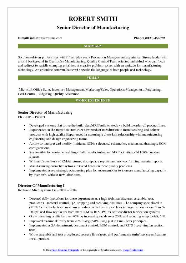 Senior Director of Manufacturing Resume Example