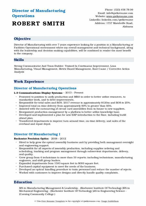 Director of Manufacturing Operations Resume Example
