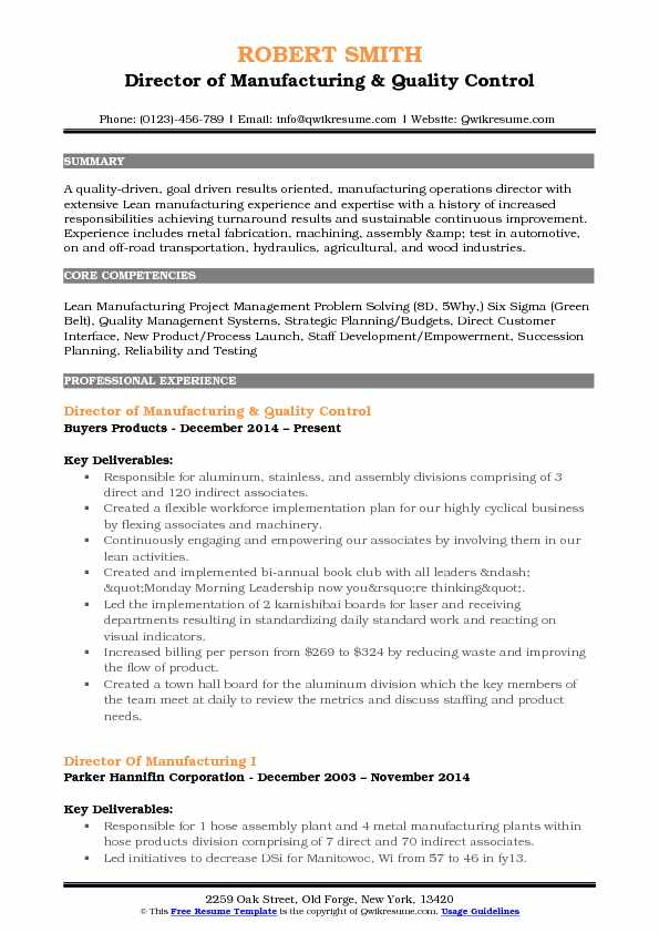 Director of Manufacturing & Quality Control Resume Sample