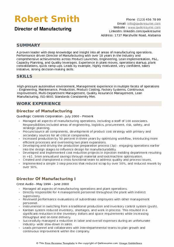 Director of Manufacturing Resume example