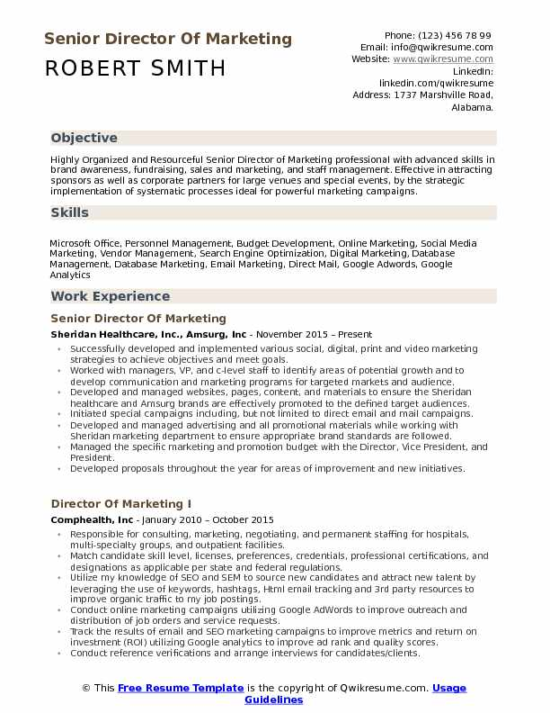 Senior Director Of Marketing Resume Model