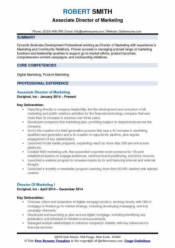 Associate Director of Marketing Resume Format