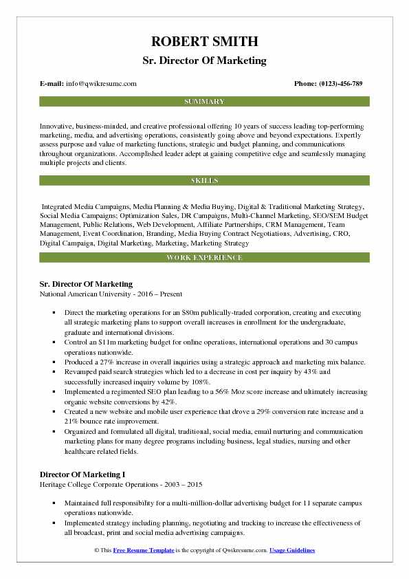 Director Of Marketing Resume Samples QwikResume