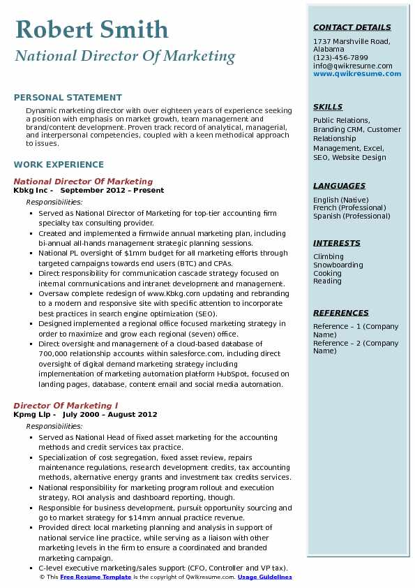 National Director Of Marketing Resume Model