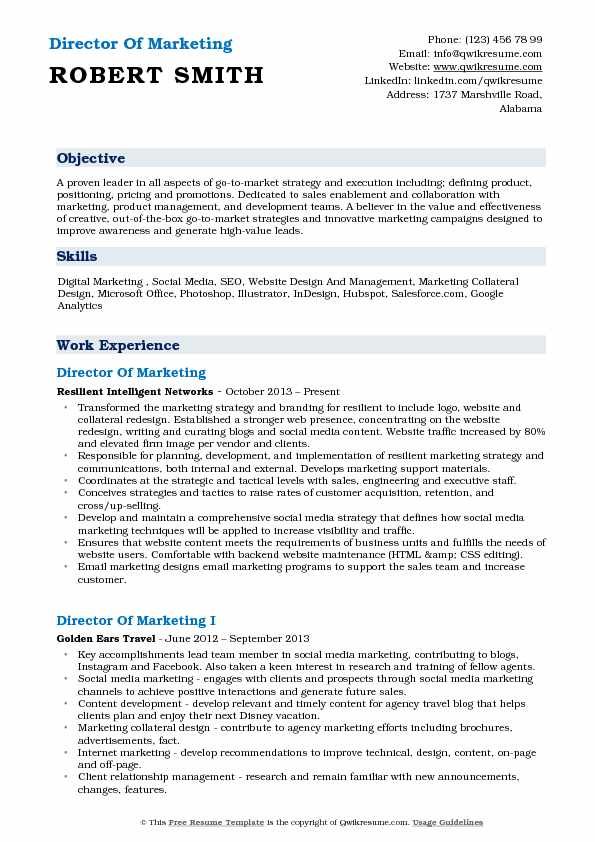 Director of Marketing Resume Samples | QwikResume