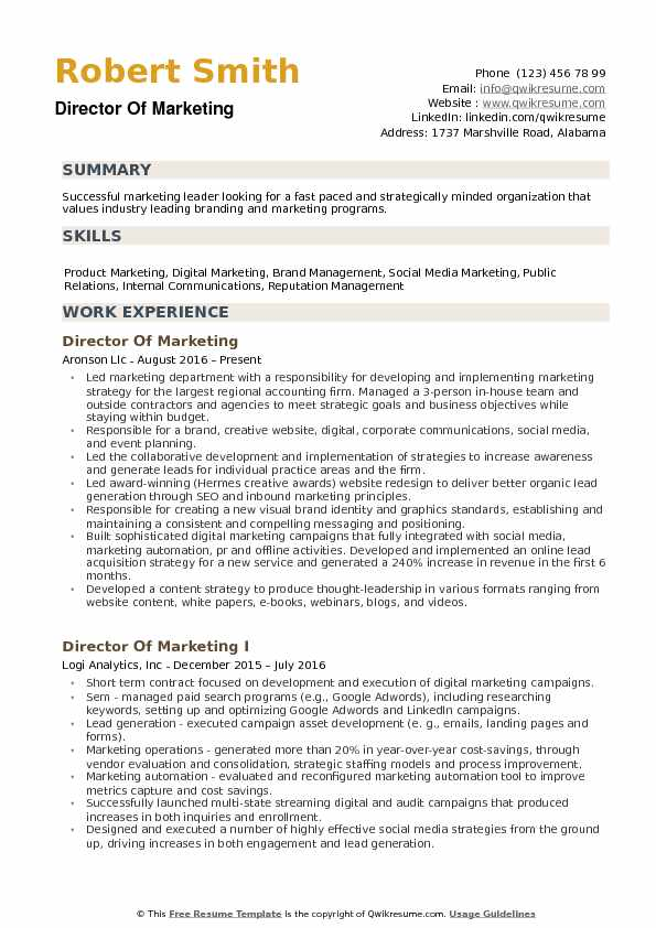 Director of Marketing Resume example