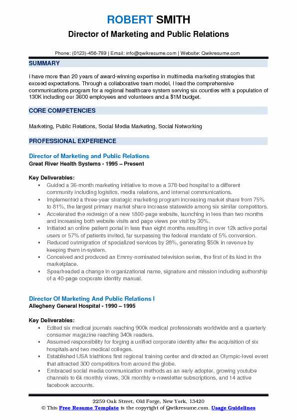 Director of Marketing and Public Relations Resume Template