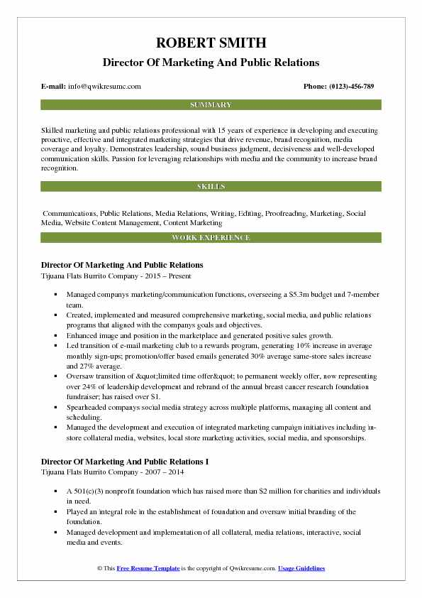 Director Of Marketing And Public Relations Resume Sample