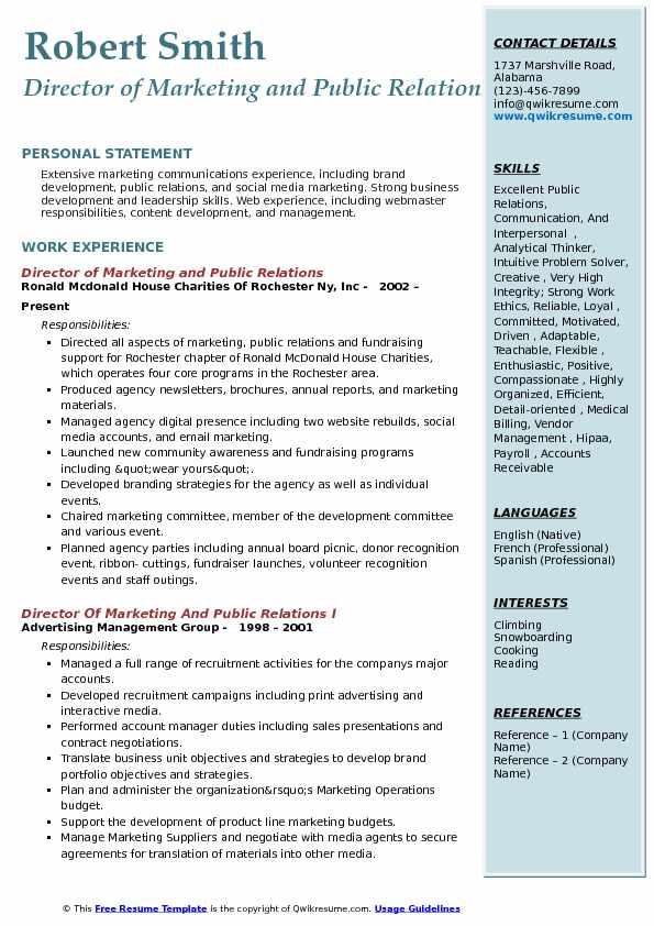 Director of Marketing and Public Relations Resume Model