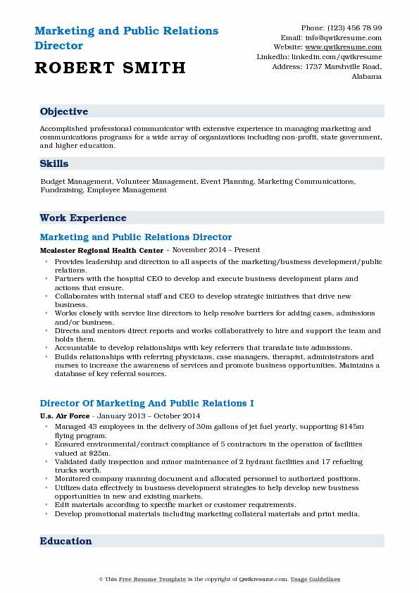 Marketing and Public Relations Director Resume Sample