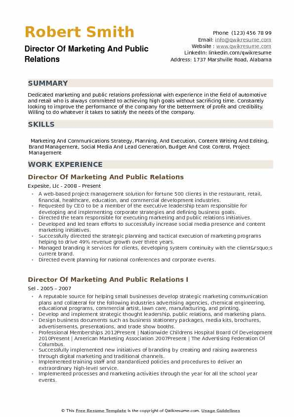 Director Of Marketing And Public Relations Resume Example