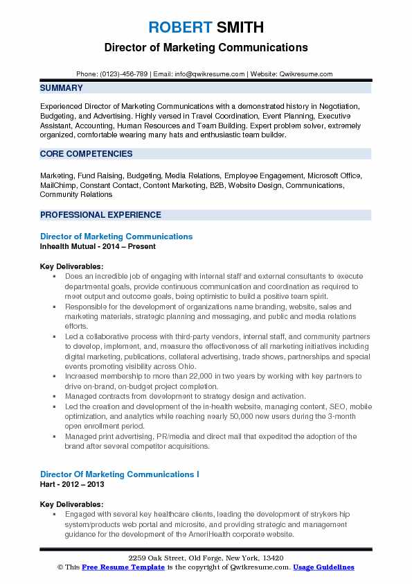 director-of-marketing-communications-1531637646-pdf Sample Digital Resume Format on job application, for high school students,