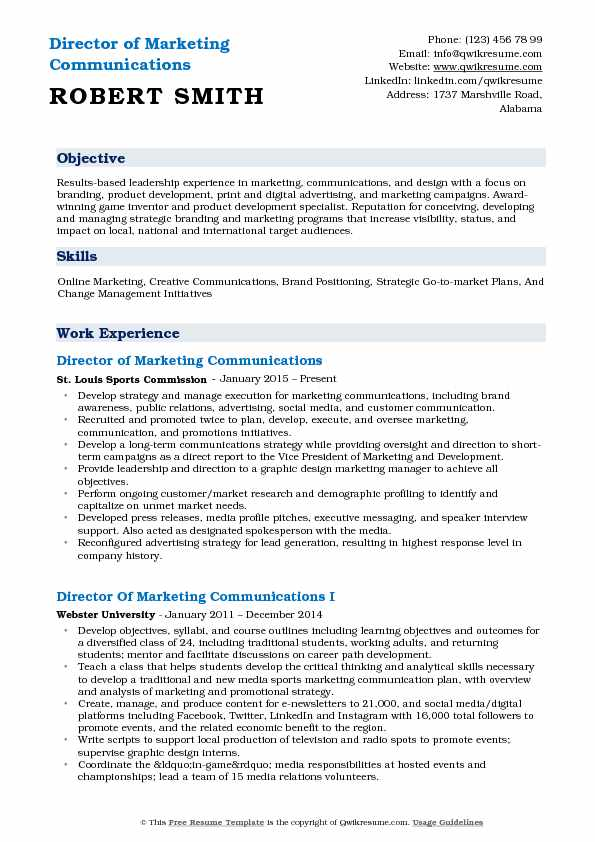 Director of Marketing Communications Resume Samples