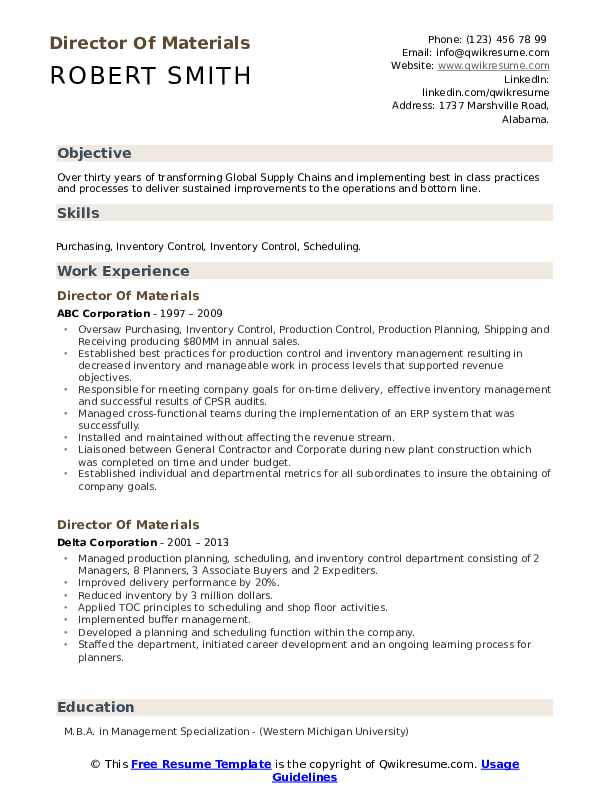 Director Of Materials Resume example