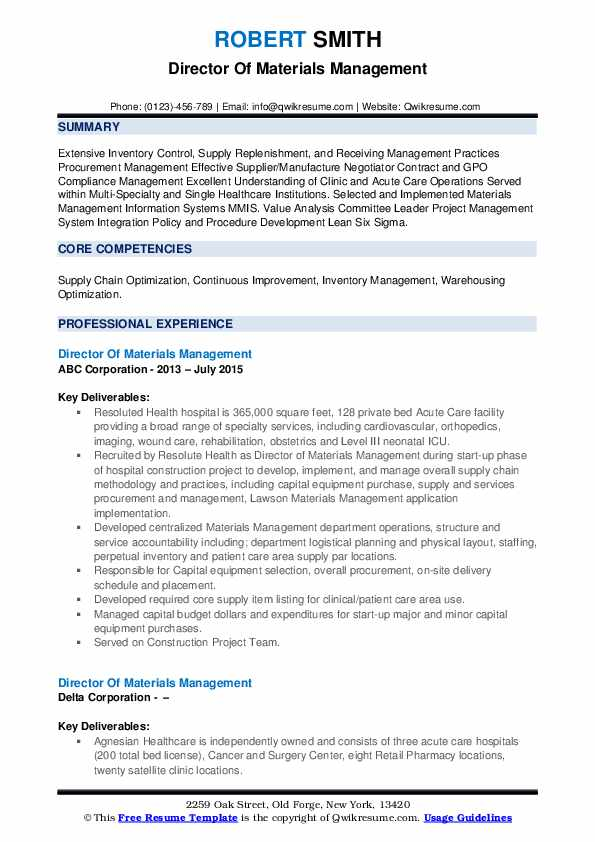 director of materials management resume samples