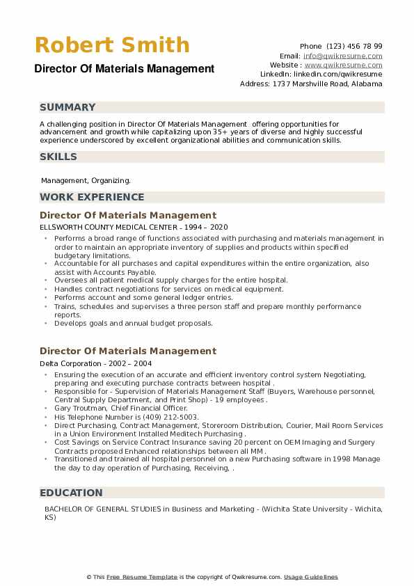Director Of Materials Management Resume example