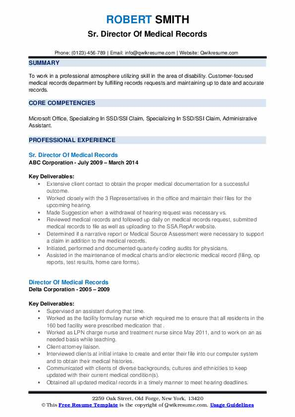 director of medical records resume samples  qwikresume