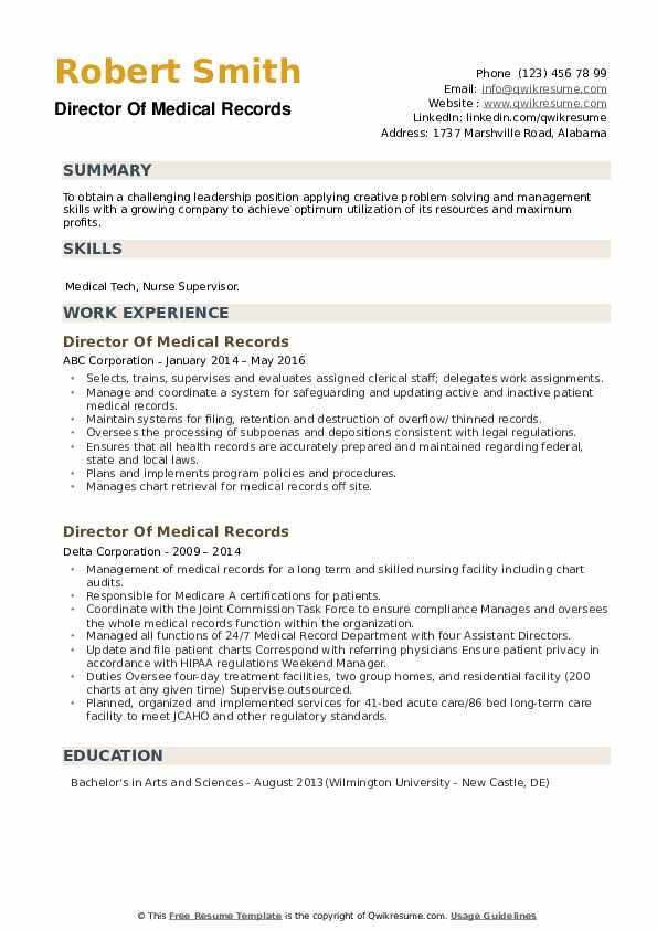 Director Of Medical Records Resume example