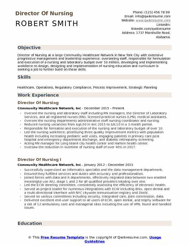 Director Of Nursing Resume Samples Qwikresume