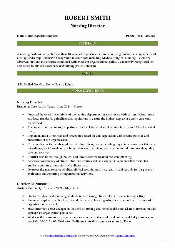 Nursing Director Resume Model