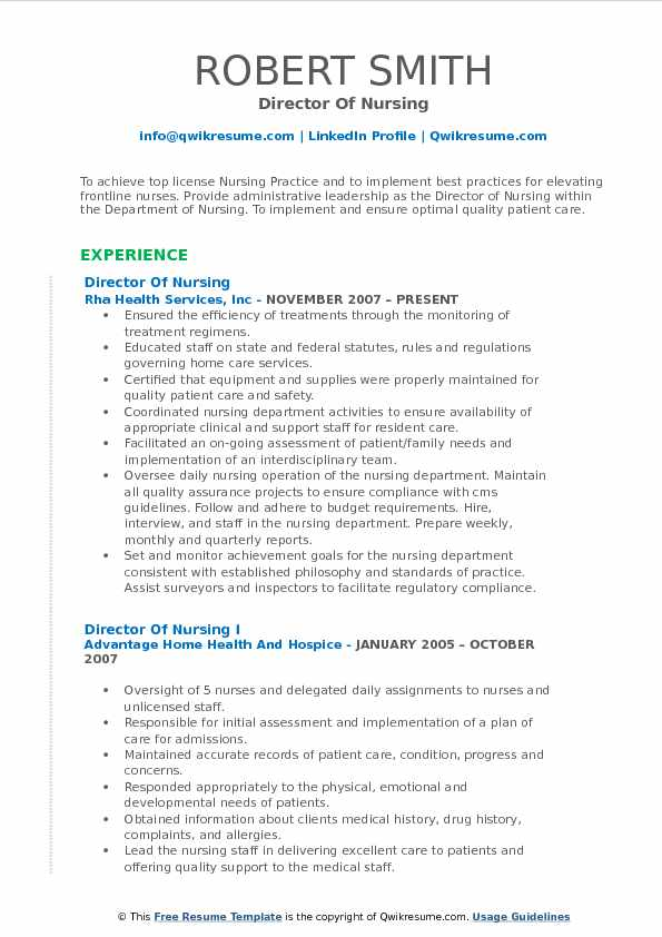 Director Of Nursing Resume Format