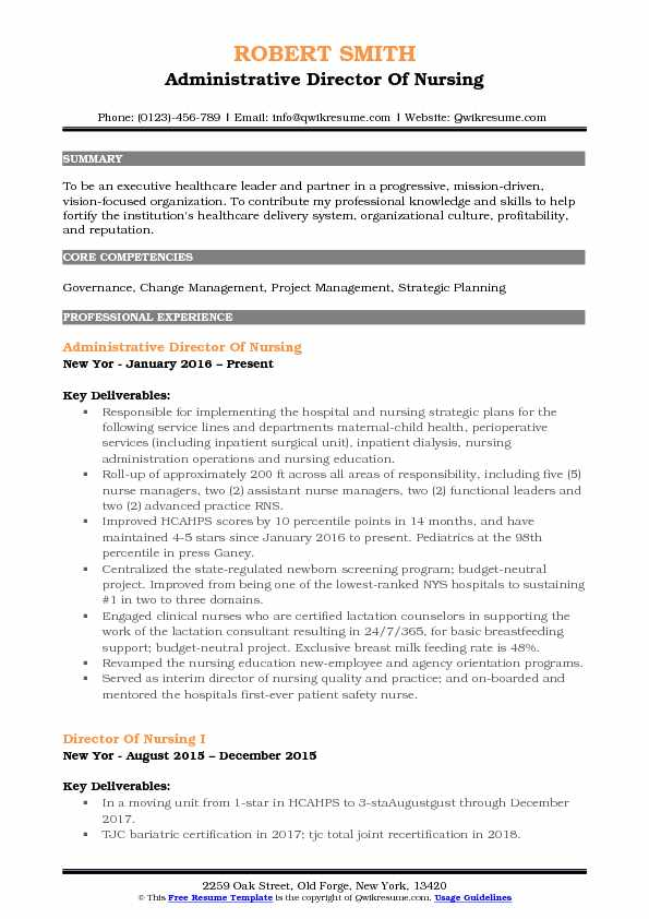 Administrative Director Of Nursing Resume Model