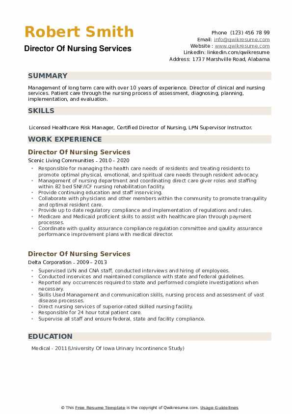 Director Of Nursing Services Resume example